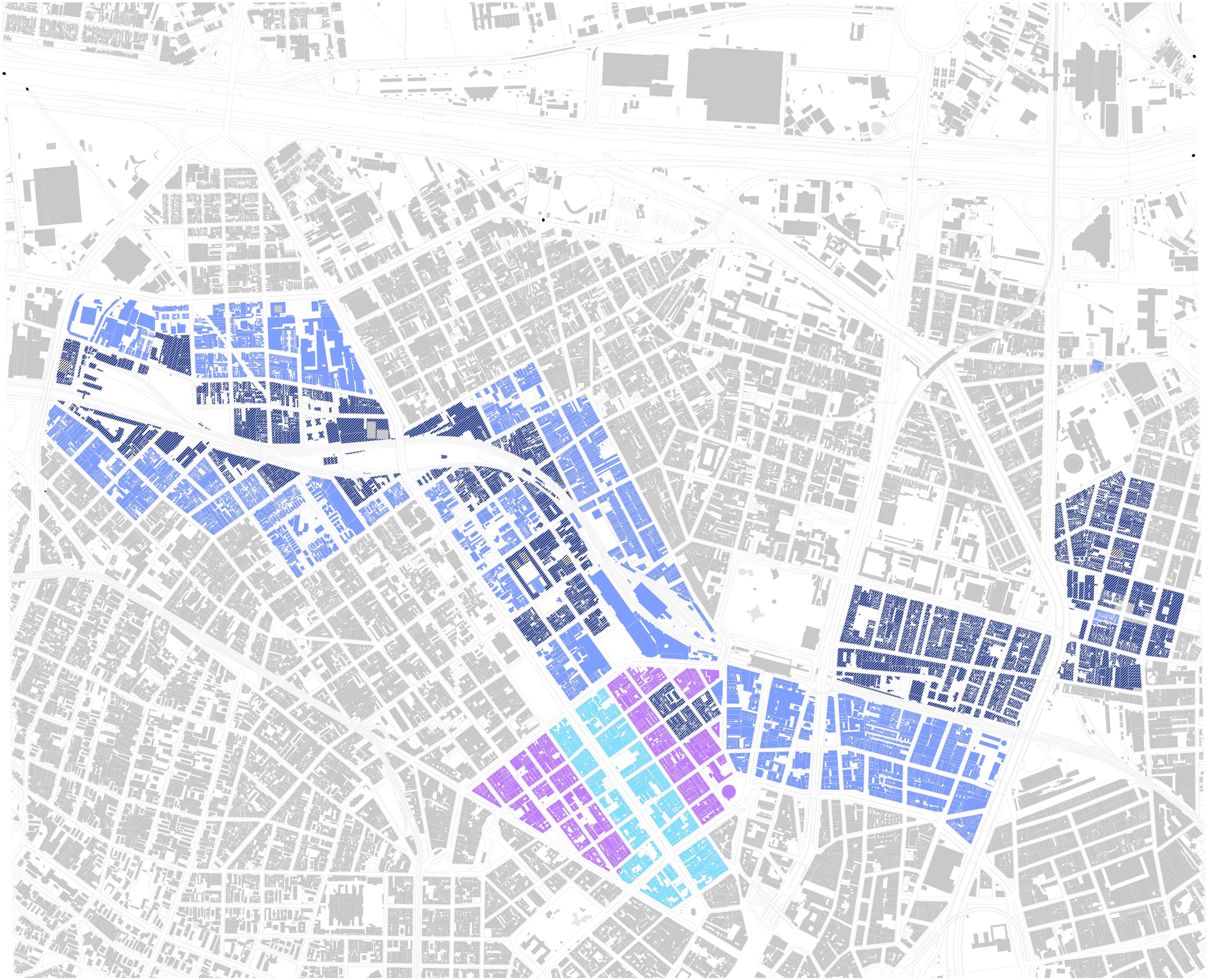 Planos século XXI - Os três planos objeto de análise: Concessão Urbanística Nova Luz, 2012 (roxo); PPP Casa Paulista, 2014 (azul escuro); PIU/MP700, 2016 (azul claro). A hachura em preto sobre as cores é a delimitação das áreas de Zeis. Escala: 1/20.000** – Elaboração do autor sobre base do MDC, Mapa Digital da Cidade de São Paulo. Fonte: Cf. PETRELLA, 2017.