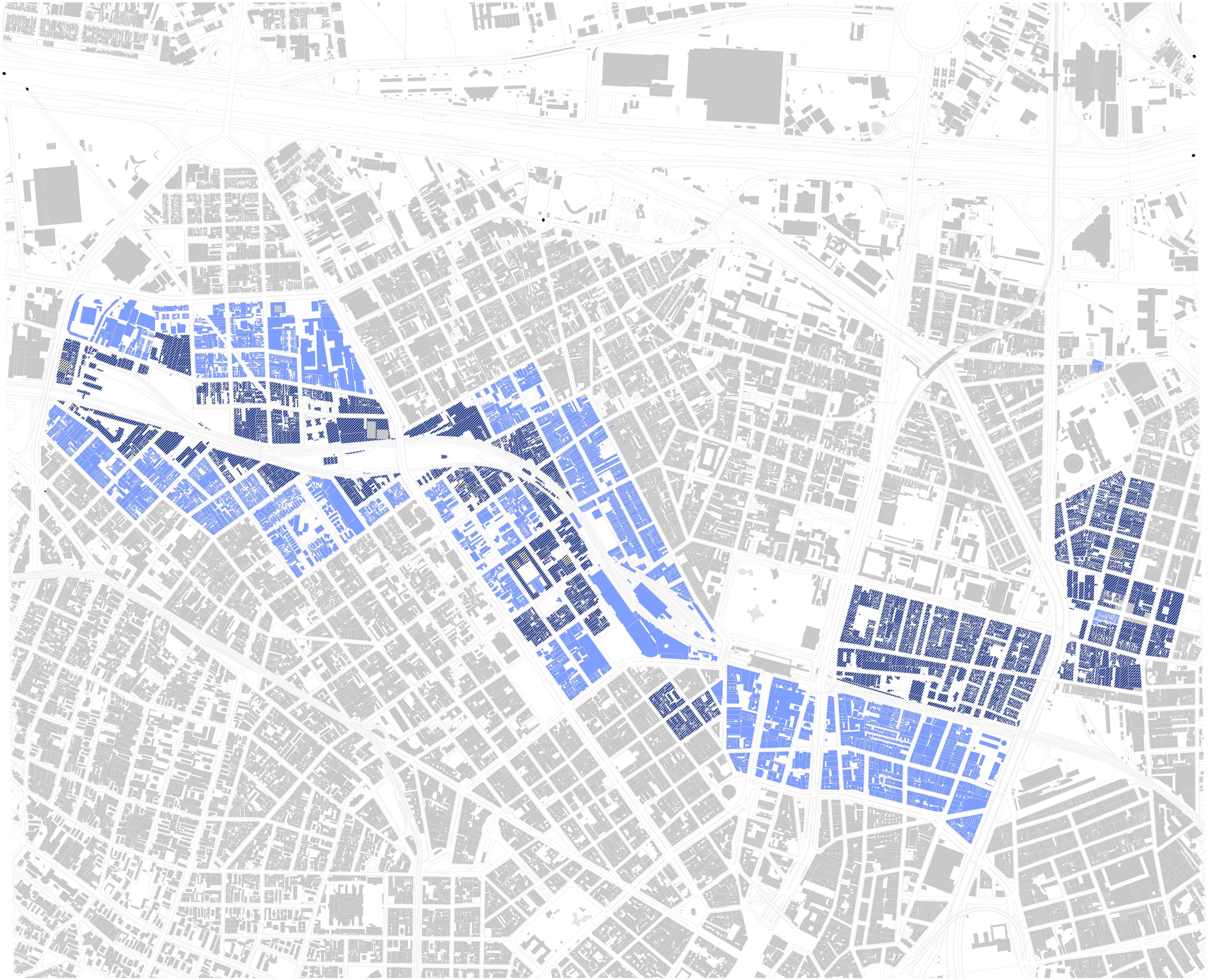 PPP Casa Paulista, 2014. A hachura em preto é a delimitação das áreas de Zeis. Escala: 1/20.000** – Elaboração do autor sobre base do MDC, Mapa Digital da Cidade de São Paulo.