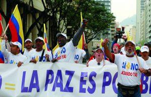 Protestos em Bogotá por um acordo de paz entre FARC e governo colombiano em 2016