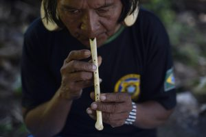 Flauta tradicional Rikbaktsa elaborada com osso de gavião. (Crédito Ana Caroline de Lima_OPAN)