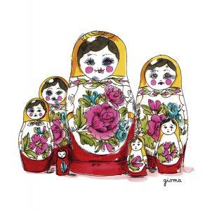 Bonecas russas representando a violência contra mulher