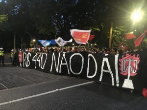 Praça da República. Segunda manifestação contra o aumento da tarifa janeiro de 2020. (Foto: Lucas Alencar)