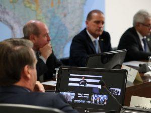 Bolsonaro durante videoconferência com governadores do Sudeste. (Marcos Corrêa/Agência Brasil)