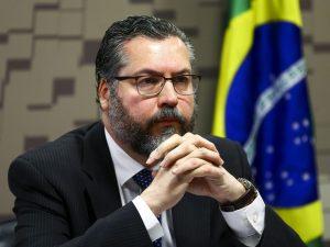 O ministro das Relações Exteriores, Ernesto Araújo, durante audiência pública na Comissão de Relações Exteriores e Defesa Nacional do Senado. (Marcelo Camargo/Agência Brasil)