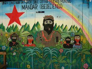 Desenho de acampamento do Exército Zapatista de Libertação Nacional, no México.
