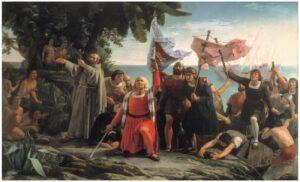 Pintura retrata o desembarque de Colombo em Abya Yala